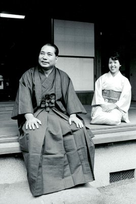 Daisaku Ikeda and Kaneko relax at home dressed in traditional New Years attire 1973